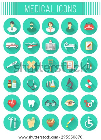 Set of vector flat icons related to subject of medicine, first aid, transportation of patient, health care, insurance, medical treatment, medicines and hospital personnel. Conceptual round symbols - stock vector