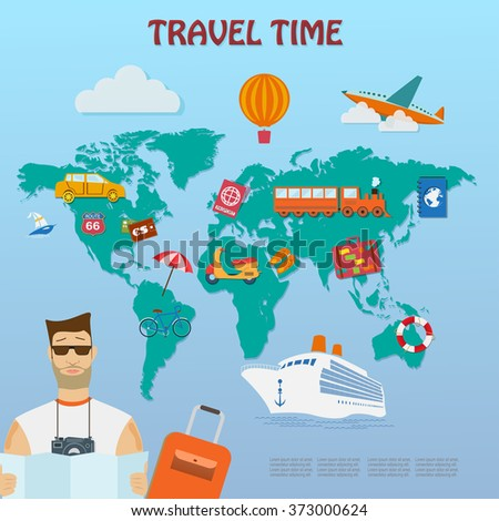 Set of vector  flat  travel Icons,tourism and journey elements on map background - stock vector