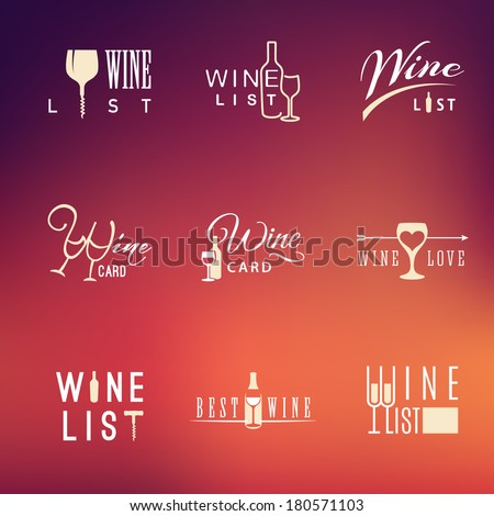 Set of vector flat wine design wine icons for food and drink