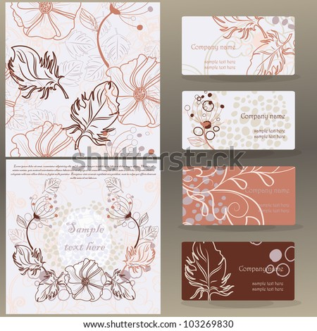 set of vector floral designs: business cards, seamless pattern, beautiful illustration frame - stock vector