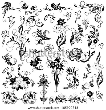 Set of  vector floral elements - stock vector