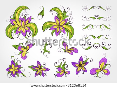 Set of vector floral elements and objects for design. Collection of elements in green, violet and yellow colors.