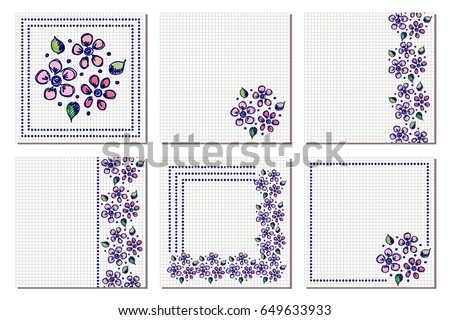 Set vector floral frame card border stock vector 649633933 set of vector floral frame card border greeting cards different template with m4hsunfo