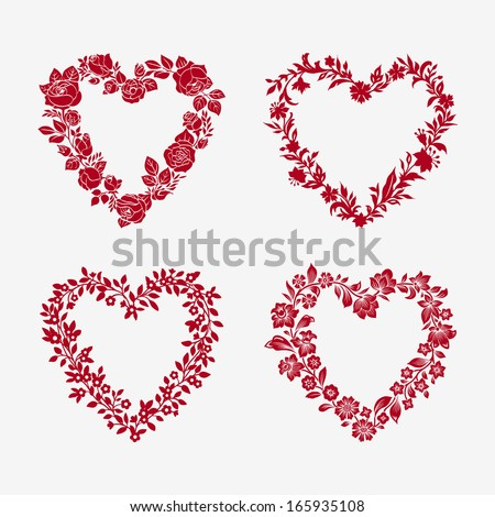 Set of vector floral frames in the shape of heart. Design elements. - stock vector