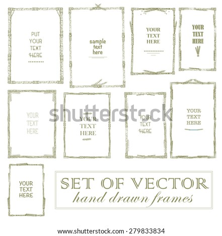 Set of vector floral hand drawn frames. Collection of editable squared frames on white background. Good for book illustration, card design and menu cover. - stock vector