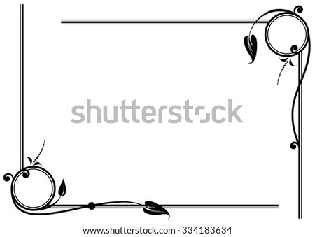 set of vector floral vignettes in black and white colors - stock vector