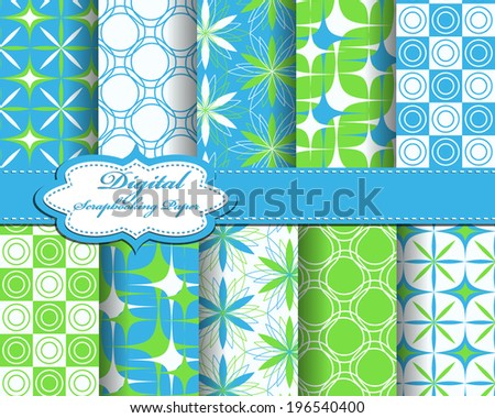 set of vector flower abstract pattern paper for scrapbook