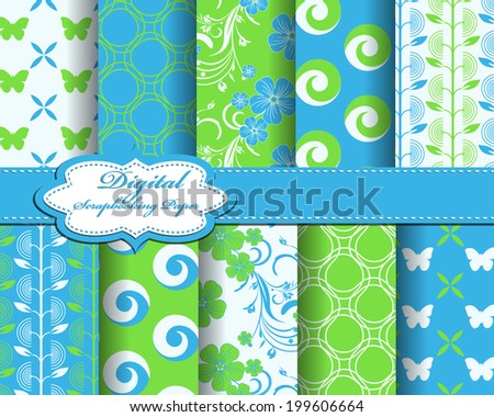 set of vector flower abstract pattern paper with butterfly for scrapbook