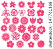 Set of Vector Flowers  - stock vector