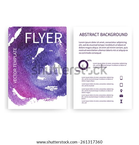 Set of vector flyer templates with blue and purple watercolor paint splash. Abstract background for business documents, posters, cards, reports, publications, etc. - stock vector