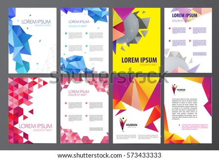 Set of vector flyers, brochures abstract design 2 sides, background, cover. Modern crystal, geometric, origami template, man logo
