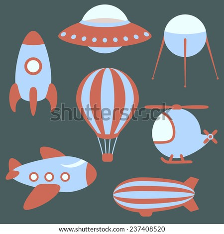 set of vector flying vehicles, colorful cartoon design elements - stock vector