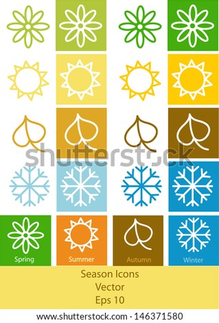 set of vector four seasons symbols isolated on white background - stock vector