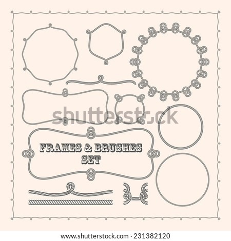 Set of vector frame templates and rope brushes. design element collection - stock vector
