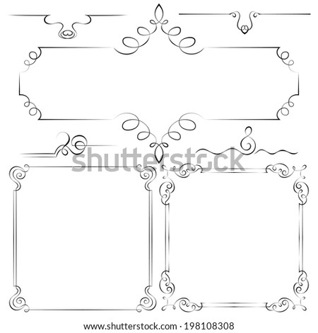 Set of vector frames with beautiful curls - stock vector