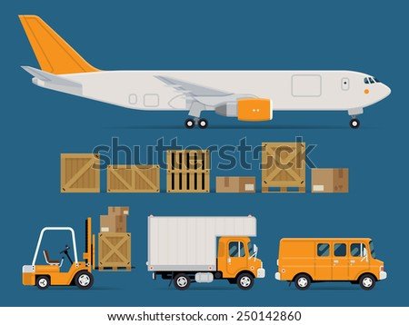 Set of vector freight cargo transport icons featuring cargo jet airplane, wooden and cardboard containers and crates, forklift, local delivery truck and cargo van - stock vector
