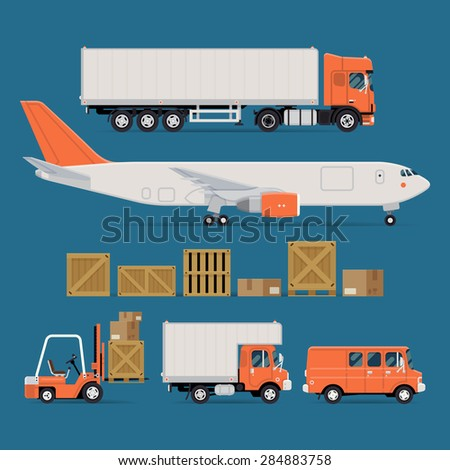 Set of vector freight cargo transport icons featuring flat nose semi-trailer truck, cargo jet airplane, wooden and cardboard containers and crates, forklift, local delivery truck and cargo van - stock vector