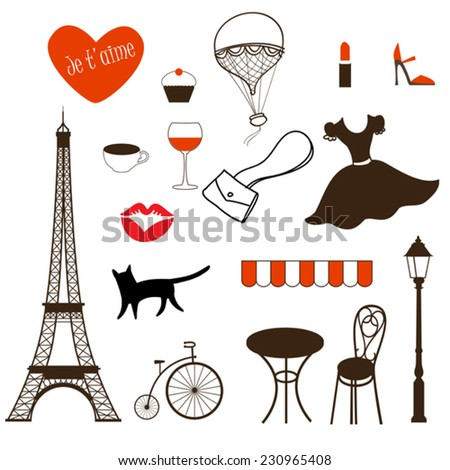 set of vector french icons - stock vector