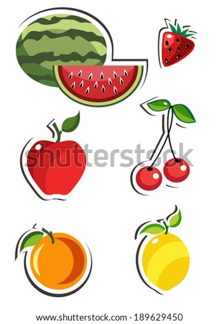 Set of vector fruits - stock vector