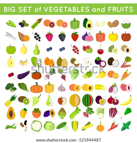 set of vector fruits and vegetables flat icons. good for healthy and vegetarian life concept or product labels