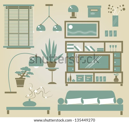 Set of vector furniture icons for sitting room - stock vector