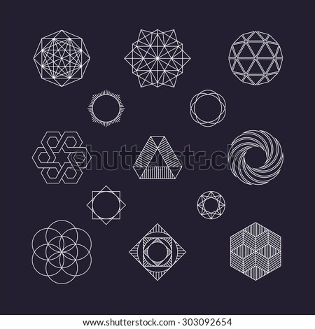 Set of vector geometric elements, line design - stock vector