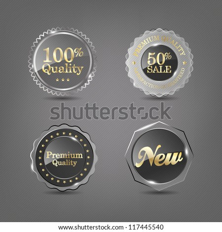 Set of vector glass labels, eps 10