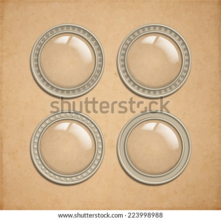 Set of vector glass transparent button in metal frame, round illuminator like icon element for web, game interface and steampunk scrapbooking decoration, transparent shadow on parchment background - stock vector