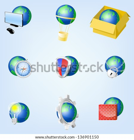 Set of vector globe icons showing earth , EPS10 - stock vector
