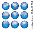 Set of vector globe icons showing earth with all continents. Vector illustration. - stock vector