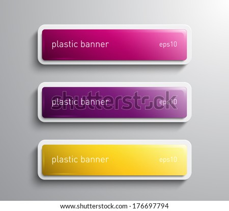 Set of vector glossy banners with plastic style for business design, infographics, reports, number options, progress, step presentation, workflow layout. Clean and modern style design - stock vector