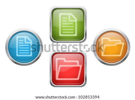 Set of vector glossy buttons with file and folder sign icons - stock vector