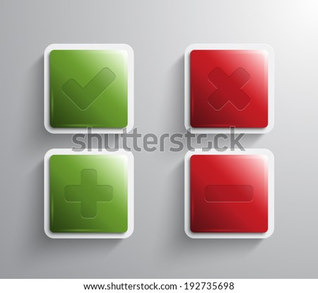 Set of vector glossy square banners / buttons with plastic style and ok and cancel icons for business design or applications. Clean and modern design - stock vector