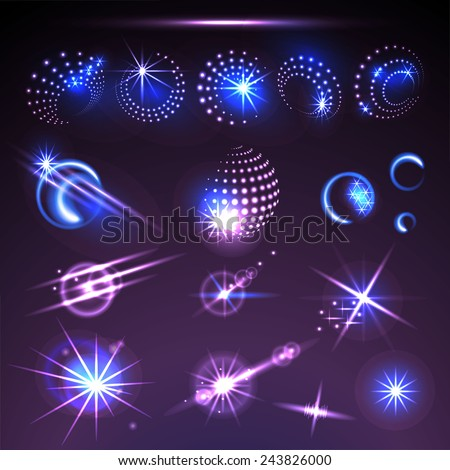 Set of vector glowing light effect stars bursts with sparkles. - stock vector