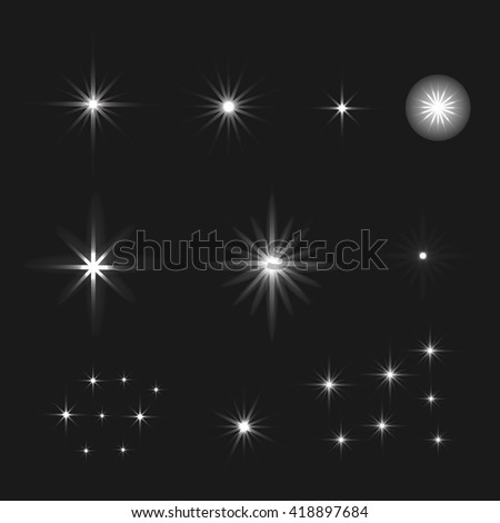 Set of Vector glowing light effect stars bursts with sparkles on black background. Stars background.  - stock vector