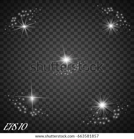 Set of Vector glowing light effect stars bursts with sparkles on transparent background.