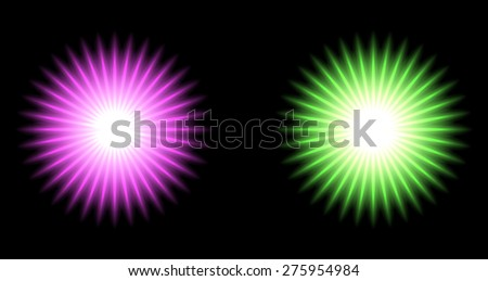 Set of Vector glowing special light effect star  - stock vector