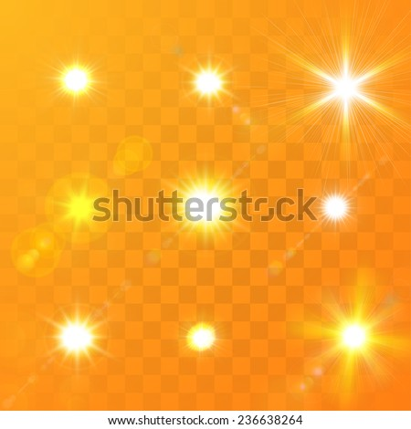 Set of Vector glowing sun light effect with sparkles on orange transparent background.