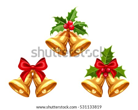 set of vector gold christmas bells with bows and holly isolated on a white background - Christmas Bell
