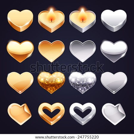 Set of Vector Golden and Silver Hearts for Romantic Projects. - stock vector