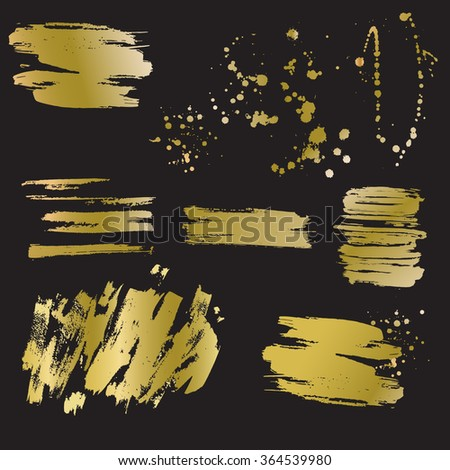 Set of vector golden blots and splashes. Hand drawn blots. Gold foil. - stock vector