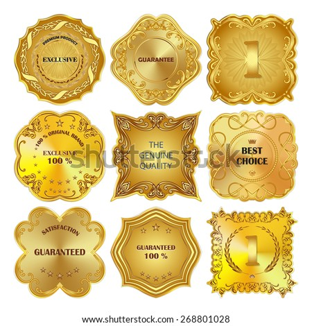 Set of vector golden metal design elements on white background. - stock vector