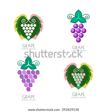 Set of vector grape icon, label elements. Outline grape vine isolated symbol. Negative space grave leaf logo design. Concept for winery, wine list. Alcohol drinks production.