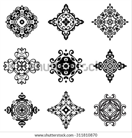 set of vector graphic abstract damask ornamental designs. Luxury royal  pattern. Vintage design ornamental tiles. Damask Black Vector Pattern  Elegant floral abstract elements - stock vector