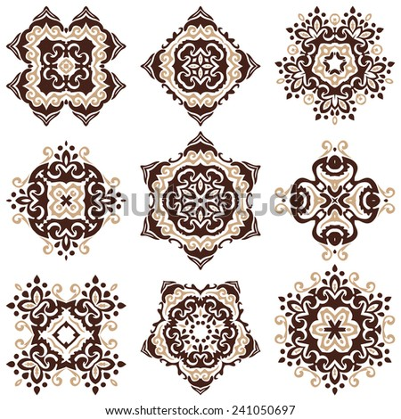 set of vector graphic abstract ornamental designs