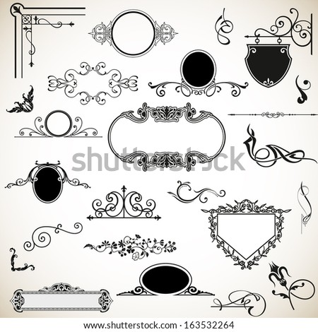 Set of vector graphic elements for design.  Easily editable vector, calligraphic elements - stock vector