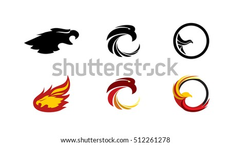 Set of vector graphic elements for the logo with an eagle or phoenix