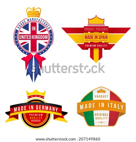 set of vector graphics made in united kingdom germany spain italy badges - stock vector