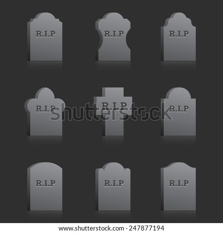 Set of vector gravestones with text RIP on the gray background - stock vector