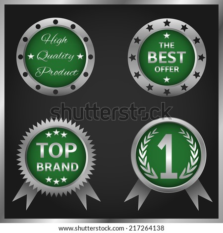 Set of vector green badges and labels - stock vector